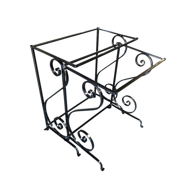 Mid-Century Scrolling Iron Patio Nesting Side Tables W/ Glass Tops - a Pair For Sale