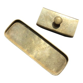 Vintage Late 20th Century Brass & Wood Ink Rocker / Blotter and Pen Tray - 2 Piece Set For Sale