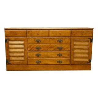 20th Century Traditional Ethan Allen Heirloom Nutmeg Maple Triple Dresser With Shutter Doors For Sale