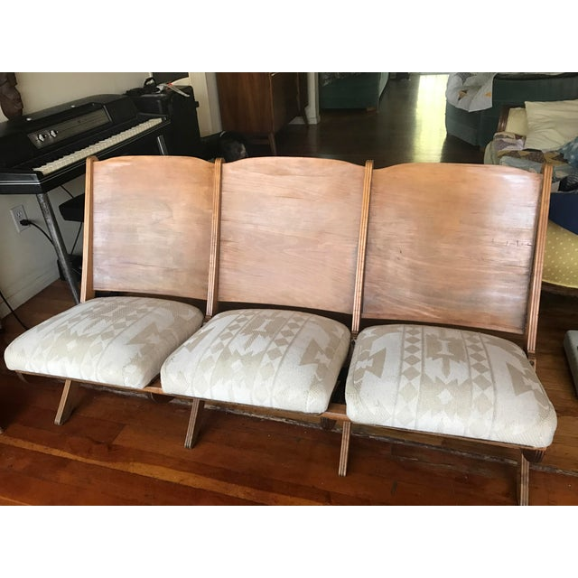1930s Folding Upholstered Theatre Seats / Bench - Image 2 of 5