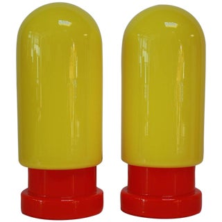 1960s Swedish Glass Capsule Red and Yellow Table Lamps - A Pair For Sale