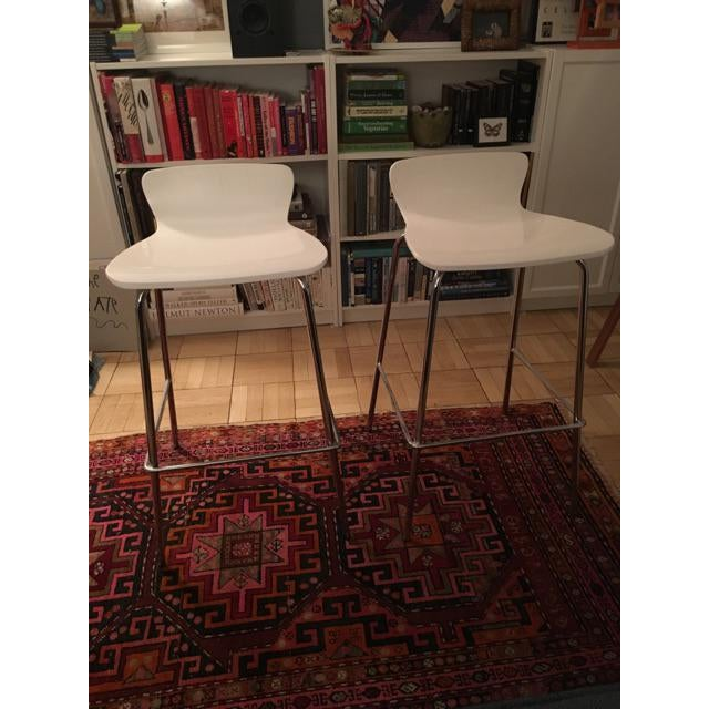 Crate & Barrel White & Chrome Bar Stools - A Pair - Image 5 of 7