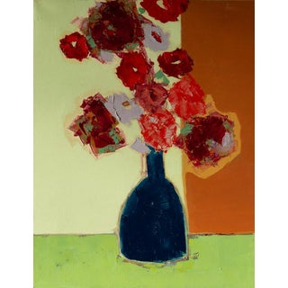 """Bill Tansey """"Brown Wall """" Abstract Floral Oil Painting on Canvas For Sale"""