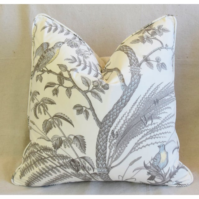 """Cotton Brunschwig & Fils Bird and Thistle Feather/Down Pillows 21"""" Square - Pair For Sale - Image 7 of 13"""