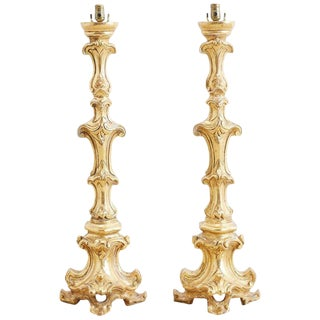Italian Rococo Giltwood Pricket Candlestick Lamps For Sale