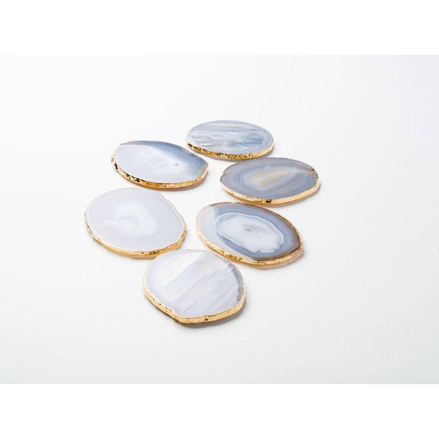 2010s Set of Eight Semi-Precious Gemstone Coasters Grey Agate Wrapped in 24-Karat Gold For Sale - Image 5 of 11