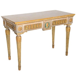Fine Italian Neoclassic Painted and Parcel-Gilt Console, Roman Late 18th Century For Sale