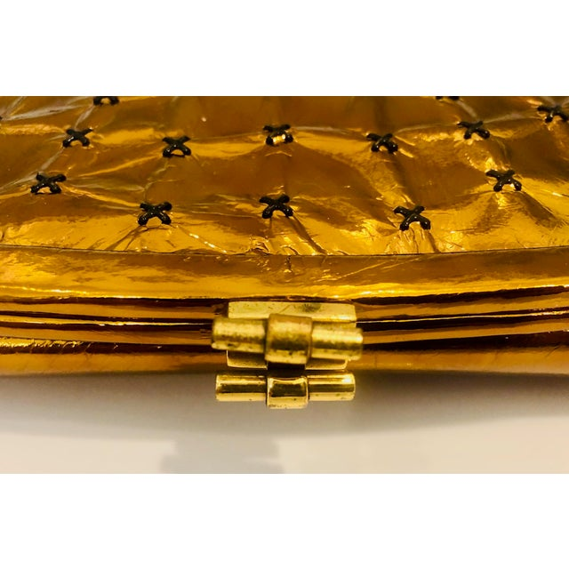 Mid-Century Modern 1960s Max Holzman Metallic Copper Leather Clutch For Sale - Image 3 of 11