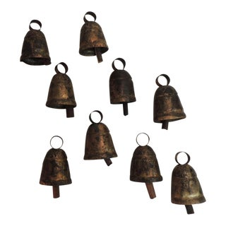 Vintage Indian Cow Bells with Wooden Chimes - Set of 9
