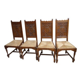 Set of 4 Antique French Carved Tiger Oak Gothic Dining Rush Seat Chairs For Sale