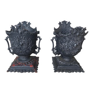 1900s Vintage French Cast Iron Garden Planters- a Pair For Sale