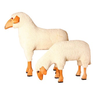 Wood & Wool Sheep Figurines - a Pair