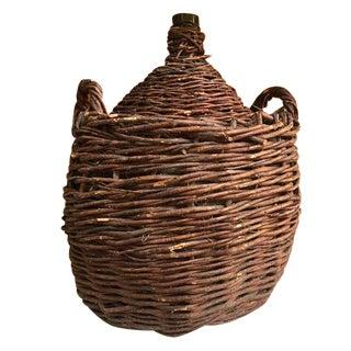 Antique 1800s Rustic Woven Demijohn Wine Jug