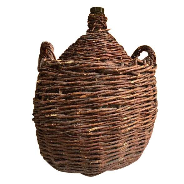 Antique 1800s Rustic Woven Demijohn Wine Jug For Sale