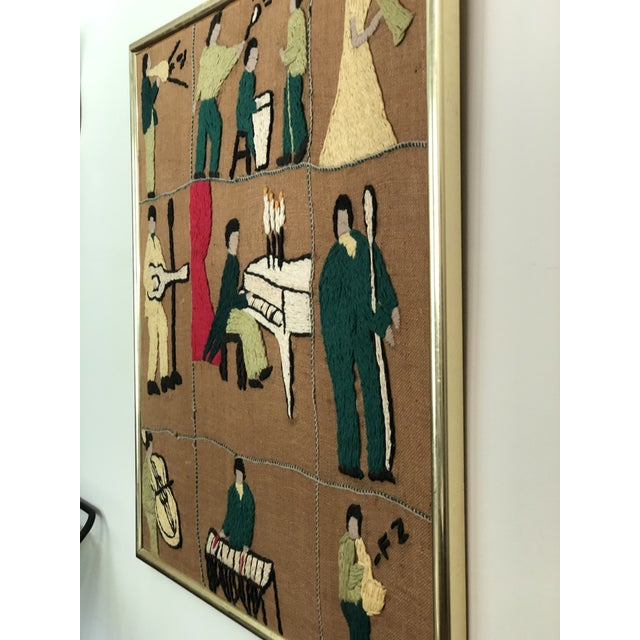 Mid-Century Embroidered Tapestry of Musicians For Sale - Image 10 of 13