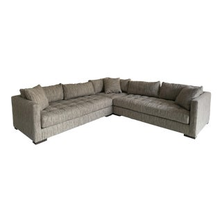Modern Lee Industries Tufted Neutral Sectional Sofa For Sale