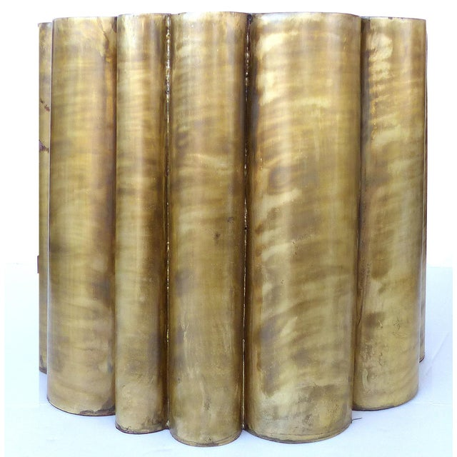 Scalloped Brass Finish Side Tables - a Pair - Image 3 of 11