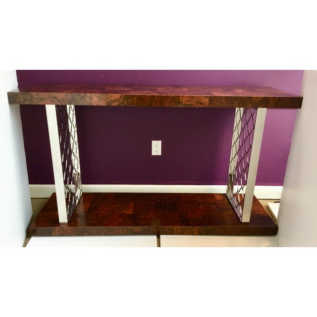 Brown Modern Art Deco Style Universal Co. Burl Wood and Nickel Console Table For Sale - Image 8 of 8