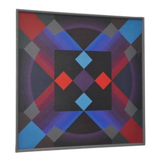 Monumental Geometric Op Art Oil Painting c.1970s