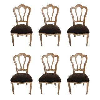 Set of Six Belgian Bistro Chairs With Velvet Seats
