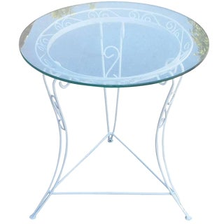 Circa 1950 Scrolling Steel Patio Side Table with Glass Top For Sale