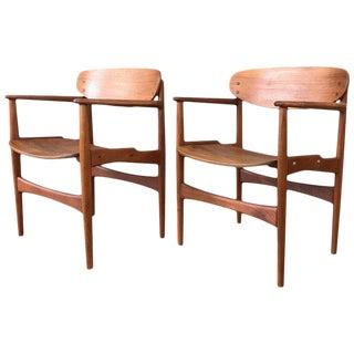 Pair of Hovmand-Olsen for Jutex Teak Armchairs, 1950s For Sale