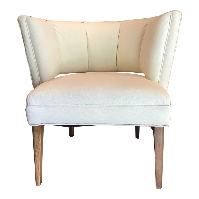 1950s Mid-Century Modern Padded Channel-Backed Club Chair For Sale