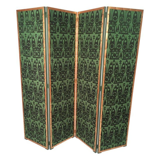 Hand Block Printed Black and Green Fabric Four Panel Screen For Sale - Image 11 of 11