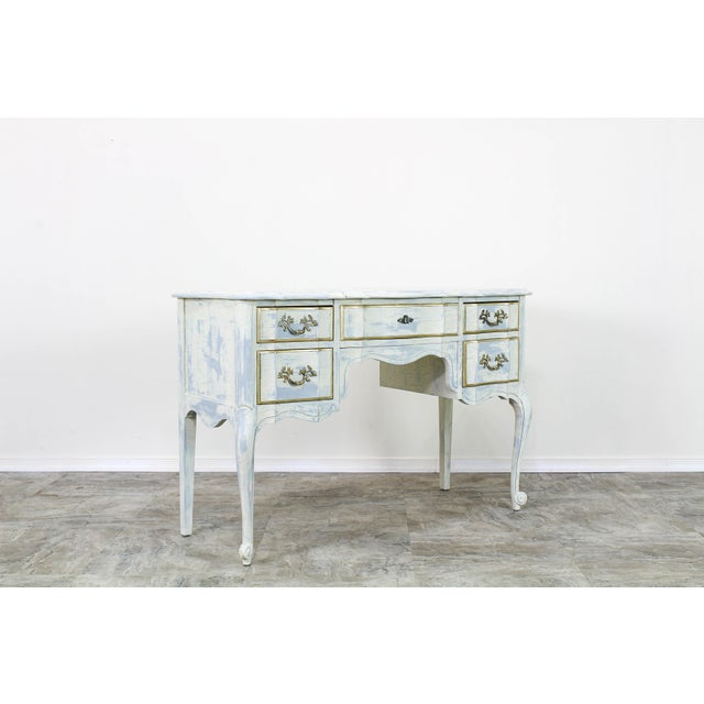 Wood French Provincial White Shabby Chic Vanity Desk For Sale - Image 7 of 13