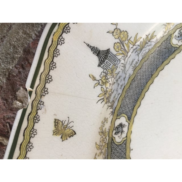 """Royal Doulton Royal Doulton Chinoiserie """"Mandarin"""" Pattern Platter and Dinner Plate Set - 2 Pc. For Sale - Image 4 of 13"""
