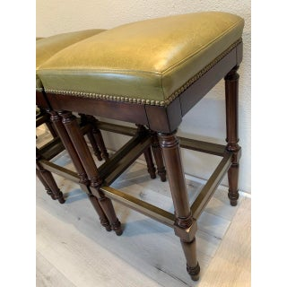 Raffles Green Leather Upholstered Backless Bar Stools-Set of 4 Preview