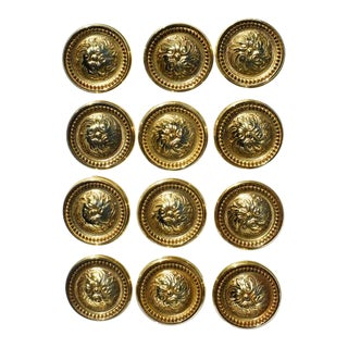 1970's Vintage Sherle Wagner Style Round Gold Cabinet Knobs For Sale