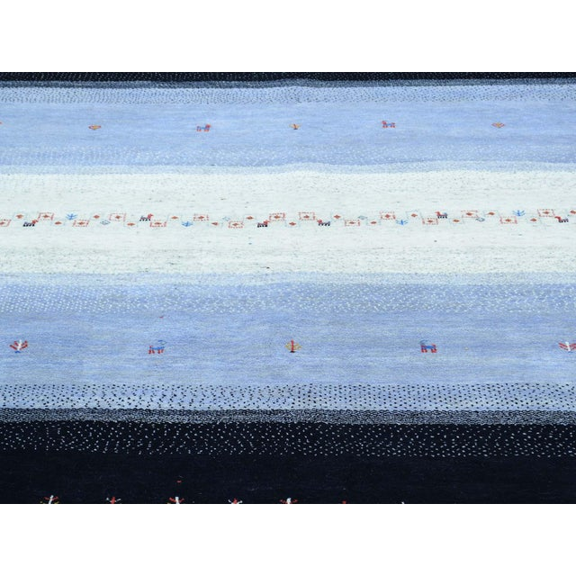 Blue Hand-Knotted Wool Folk Art Gabbeh Rug- 8′3″ × 10′1″ For Sale - Image 8 of 13