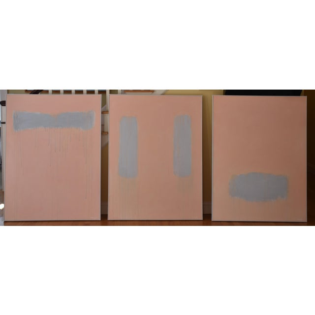 """Abstract """"Peachy"""" Large Contemporary Abstract Triptych Painting by Stephen Remick For Sale - Image 3 of 12"""