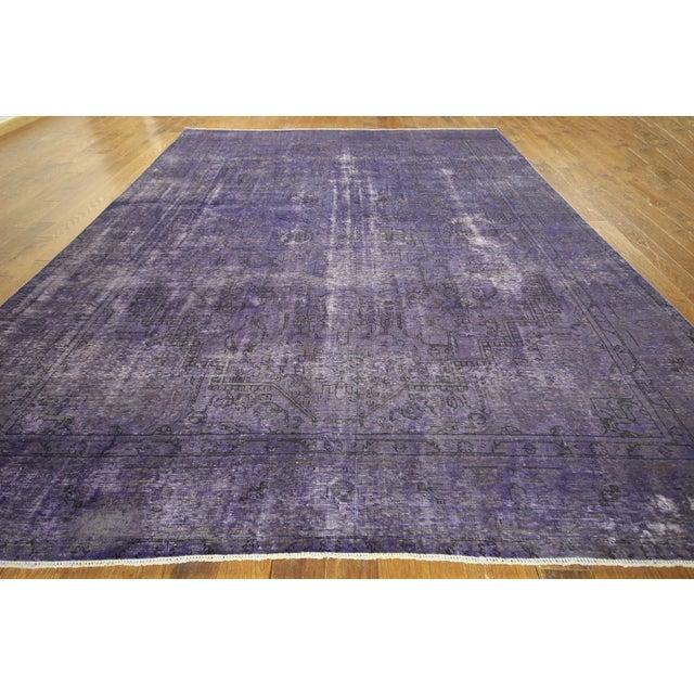 """Purple Overdyed Wool Rug - 9' 7"""" x 12' 9"""" - Image 3 of 10"""