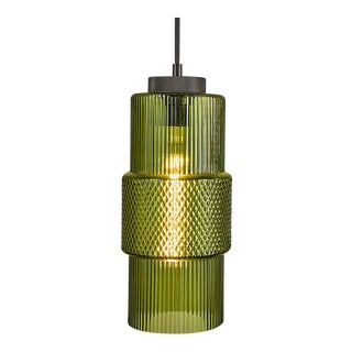 Laguna Knurled Detailing, Black Bronze and Black Silk Cable Olive Pendant Light For Sale