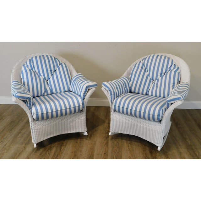 High Quality Aluminum Frame Pair of White Painted Rockers with Blue & White Striped Cushions Store Item#: 24218