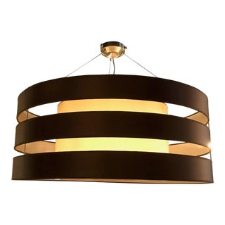 Oversized Brown Striped Pendant Light For Sale
