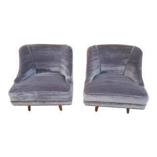 Mid Century Modern Swivel Lounge Club Chairs Newly Upholstered - Pair For Sale