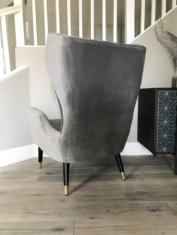 Grey Velvet Italian Modern Style Wingback Chair   Image 4 Of 6