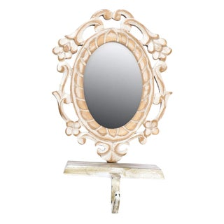 Ecru Wooden Mirrored Key Stand
