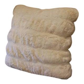 Ivory Faux Mink Faux Fur Pillow For Sale