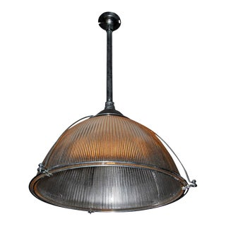 Industrial Large Halophane Pendant For Sale