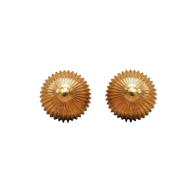 Boho Chic Ribbed Brass Ball Finials - a Pair For Sale - Image 3 of 4