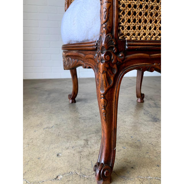 Wood Curved Double Cane Lounge Chairs- a Pair For Sale - Image 7 of 13