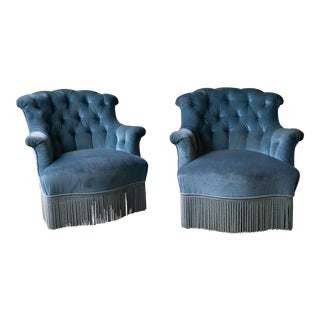 Pair of Nap III Tufted Armchairs in Light Blue Velvet With Bouillon Fringe For Sale
