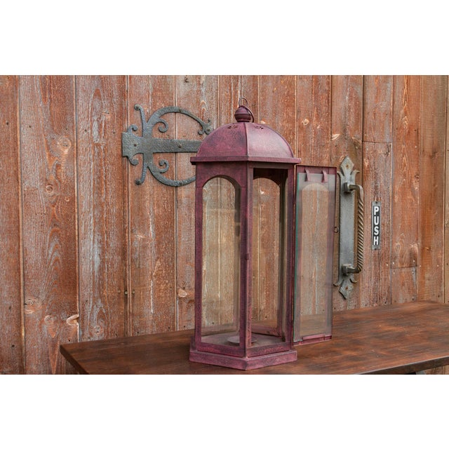 Metal Ruby Acanthus Glass Lantern For Sale - Image 7 of 8