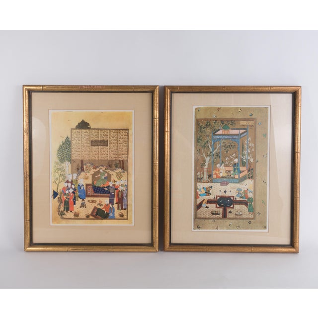 1960s Vintage Persian Miniature Framed Prints - A Pair For Sale - Image 13 of 13