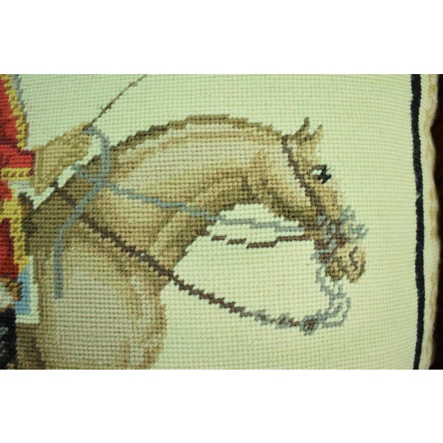 Equestrian Petit-Point Pillows - A Pair For Sale - Image 4 of 6