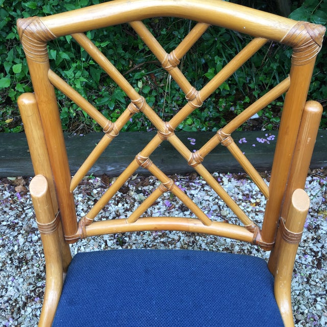 Blue Chippendale Bamboo Side Chairs - Set of 3 For Sale - Image 8 of 11